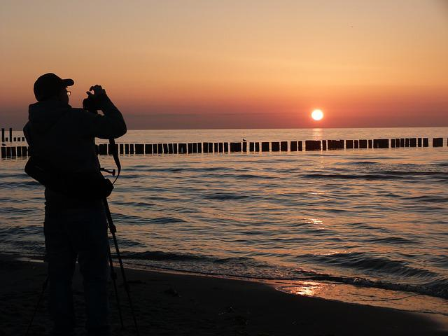 Photographer, Baltic Sea, Zingst, Beach, Sunset