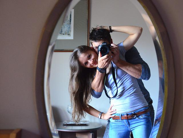 Photography, Mirror, Young Woman, Young Men