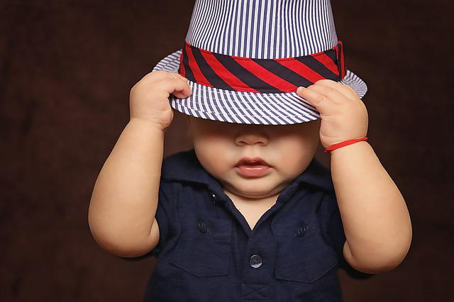 Baby, Boy, Hat, Covered, Eyes, Playing, Photos, Child