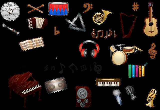 Music Instruments, Piano, Guitar, Cymbal, Organ
