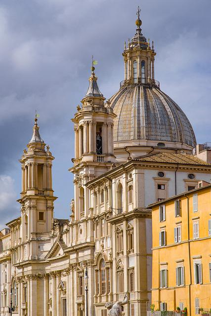 Church, Dome, Place, Piazza, Navona, Rome, Italy