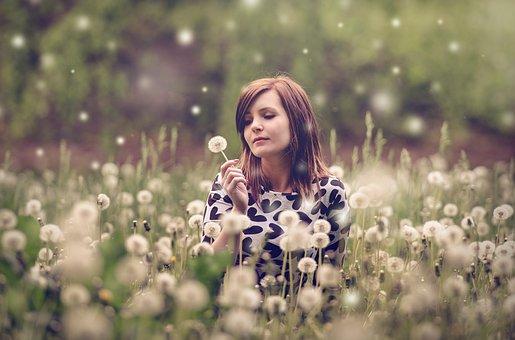Woman, Portrait, Meadow, Dandelions, Picu, Photographer