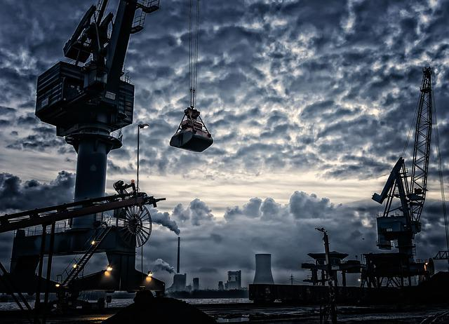 Crane, Port, Shipping Industry, Harbor, Pier, Clouds