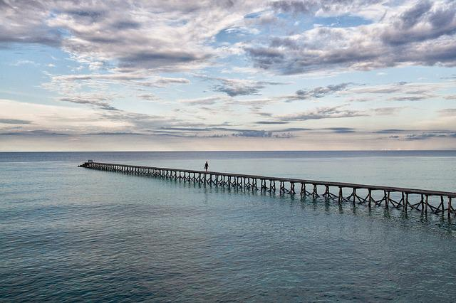 Waters, Sea, Ocean, Sky, Beach, Pier, Panorama, Coast