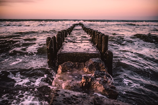 Jetty, Pier, Remains, Relic, Poland, Sea, Ocean, Waves