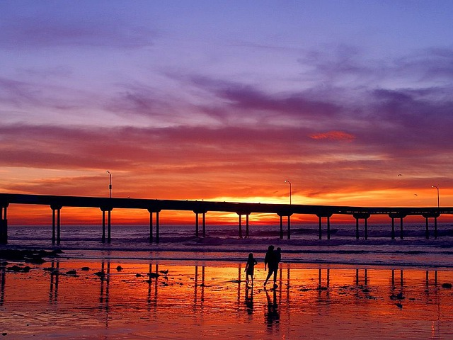Walk, Afterglow, Web, Pier, Sunset, Sea, Ocean, Human