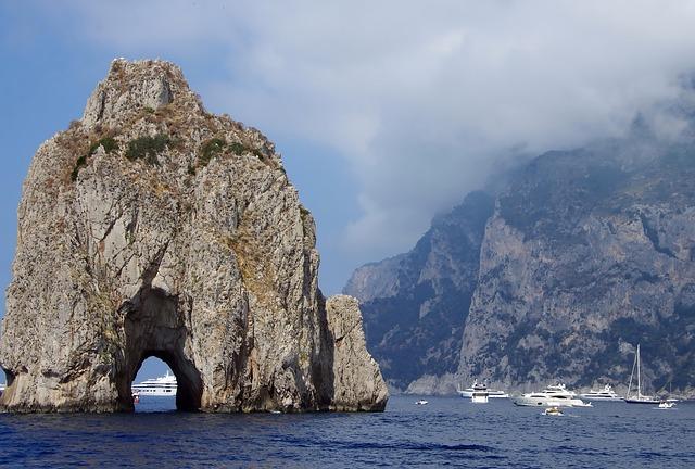 Italy, Capri, Pierced Stone, Side, Mediterranean