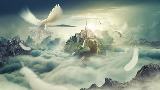 Fantasy, Tortoise, Pigeon, Cloud, Sky, Mountain
