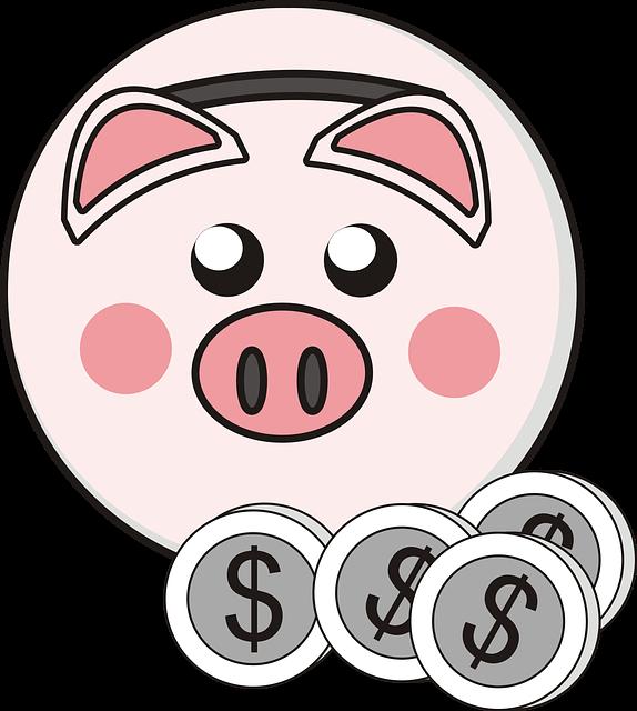 Piggy Bank, Little Pig, Coins, Saving, Money, Drawing