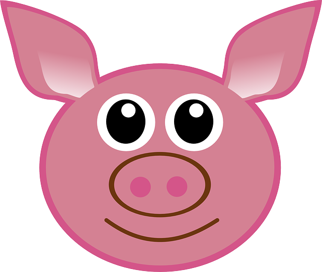 Pig, Head, Cartoon, Cute, Isolated, Piglet, Face, Happy
