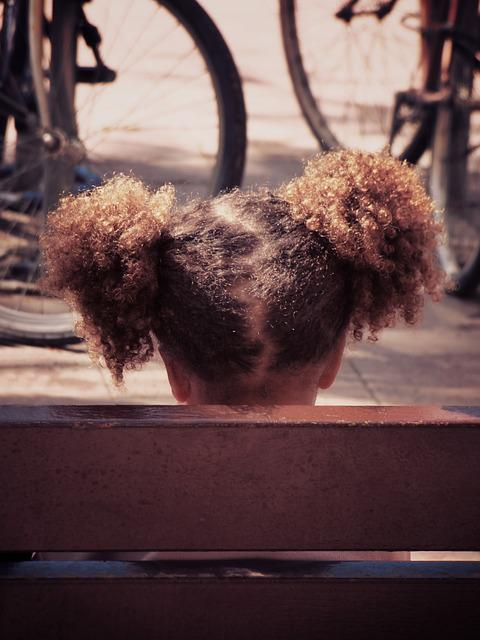 Girl, Pigtails, Afro Hair, Bank, Bicycles, Urban Scene