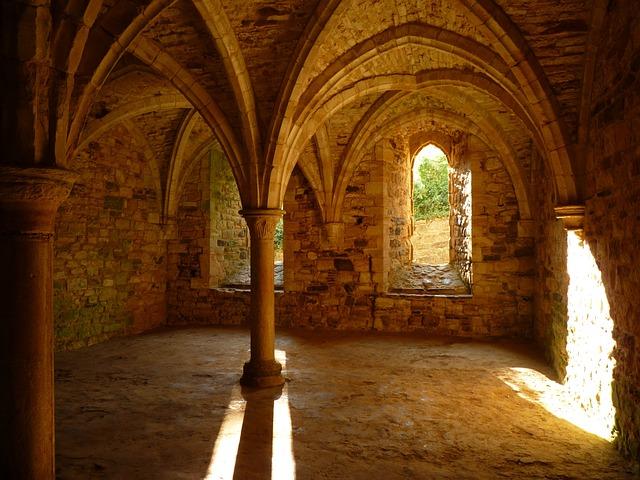 Battle Abbey, Monastery, Vault, Keller, Pillar
