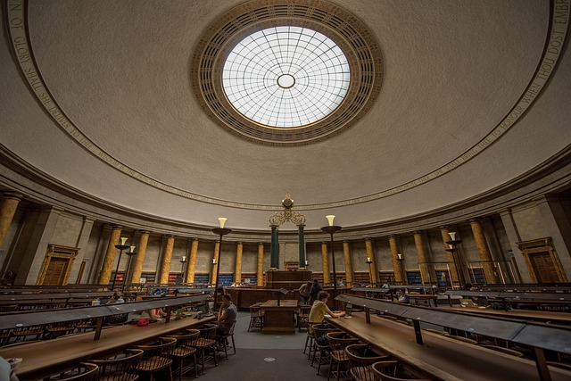 Library, Manchester, Interior, Pillars, Learning, Study