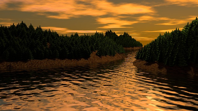 Landscape, Pine, Sunset, Mountain, Forest, Nature