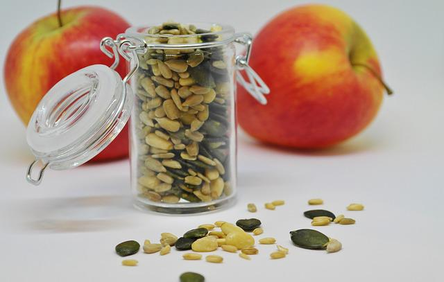 Apple, Sunflower Seeds, Pumpkin Seeds, Pine Nuts, Fruit