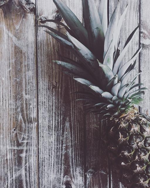 Pineapple, Fruit, Flat Lay, Overhead, Wood, Desk, Table