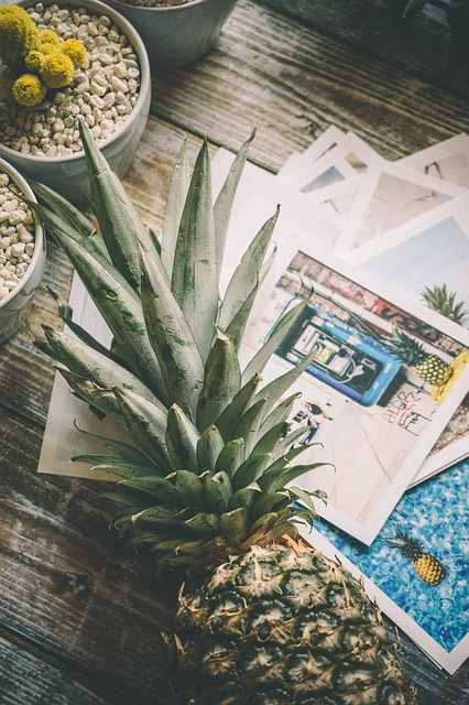 Pineapple, Desk, Wood, Table, Flat Lay, Succulents