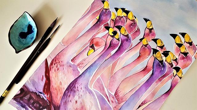 Art, Painting, The Greater Flamingo, Bird, Nature, Pink