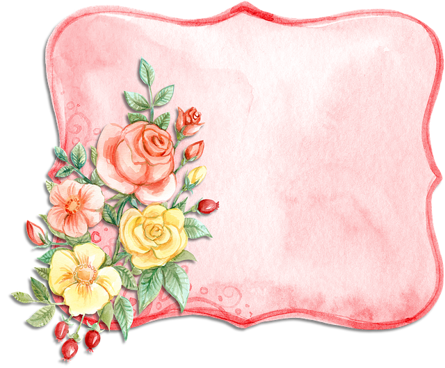 Label, Watercolor, Pink, Rose, Yellow, Flower, Bouquet