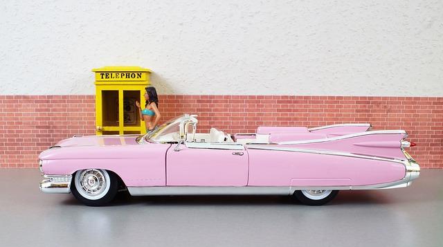 Model Car, Cadillac, Cadillac Eldorado, Pink, Auto, Old