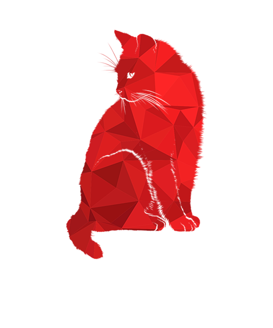 Cat, Red Cat, Pink Cat, Cat Miror Poly, Poly