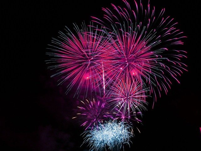 Fireworks, Celebration, Bright, Pink, Explosive