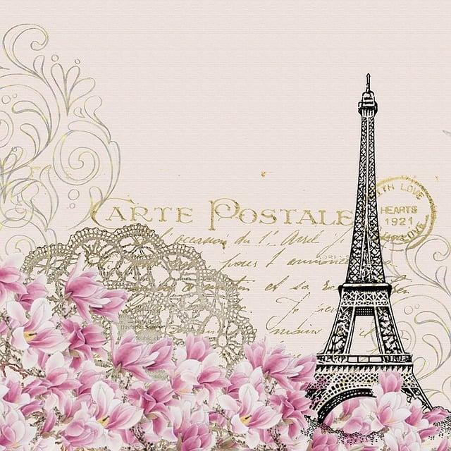 Background, Vintage, Eiffel, Flower, Pink, Post Card