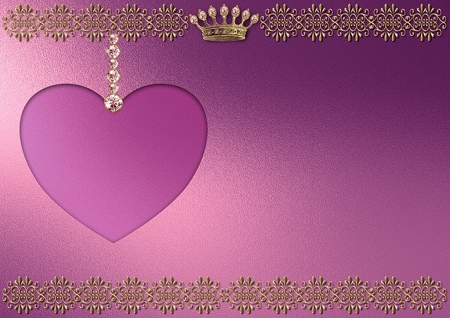 Background Image, Gold, Heart, Chain, Princess, Pink