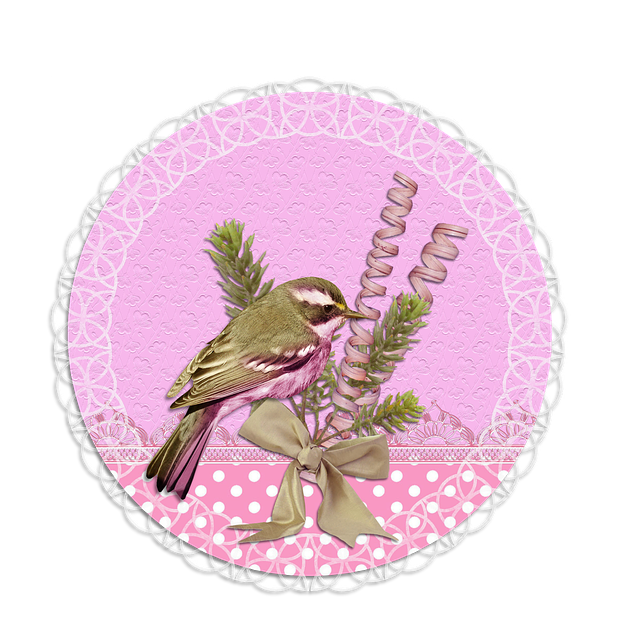 Tag, Label, Pink, Green, Flower, Lace, Bird
