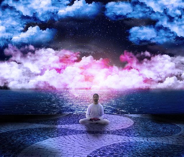 Cosmos, Posture, Lotus, Clouds, Pink, Blue, Wisdom