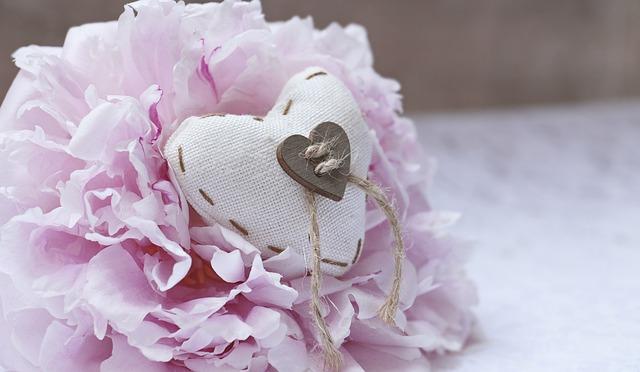 Peony, Heart, Linen Heart, Pink Peony, Love, Pink