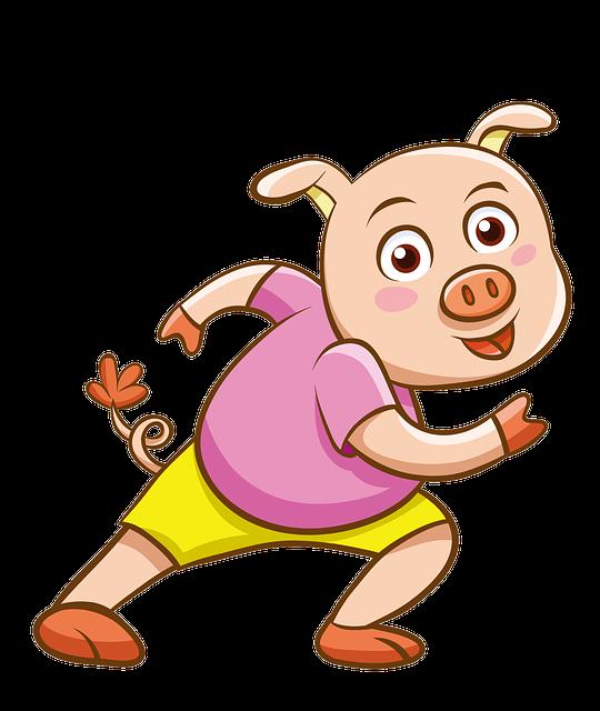 Cartoon, Hand-painted, Pink Pig