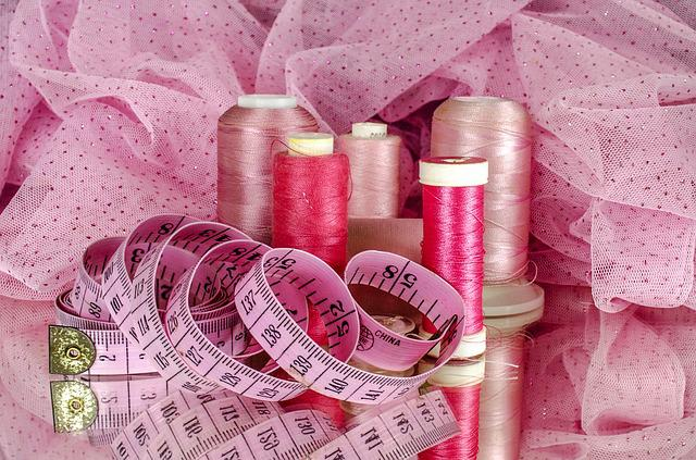 Sewing, Cotton, Thread, Material, Tape, Measure, Pink