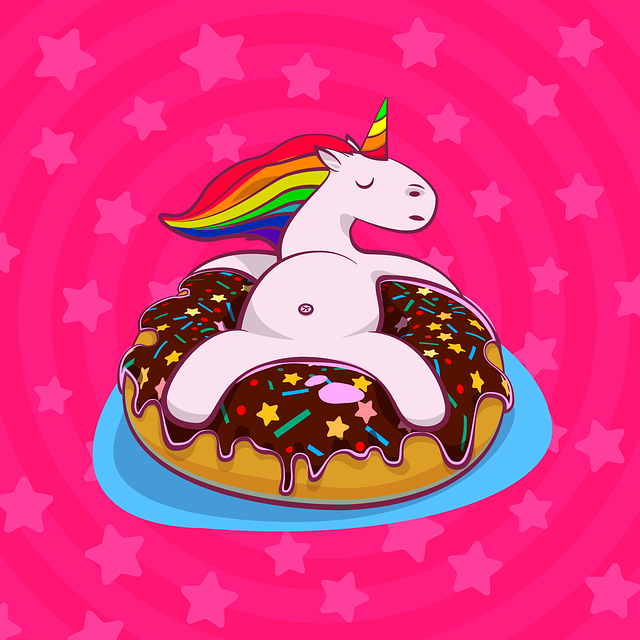 Unicorn, Donut, Rainbow, Chocolate, Dessert, Pink