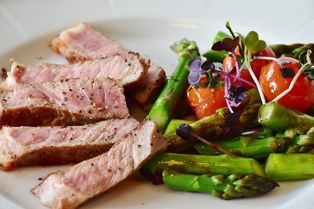 Asparagus, Steak, Veal Steak, Veal, Meat, Pink