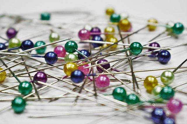 Pins, Colored Pins, Scattered, Sewing, Pinned, Colorful