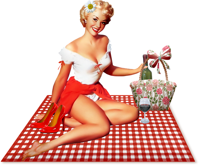 Pin Up Girl, Picnic, Retro, Pinups, Vintage, Lipstick