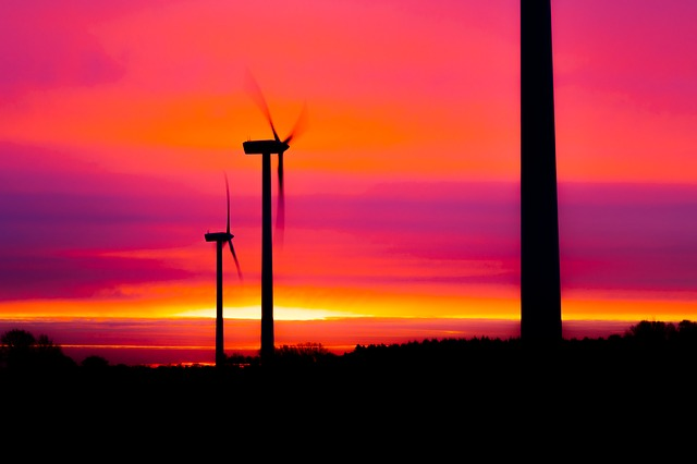 Wind Power Plant, Sunrise, Sun, Wind Turbine, Pinwheel