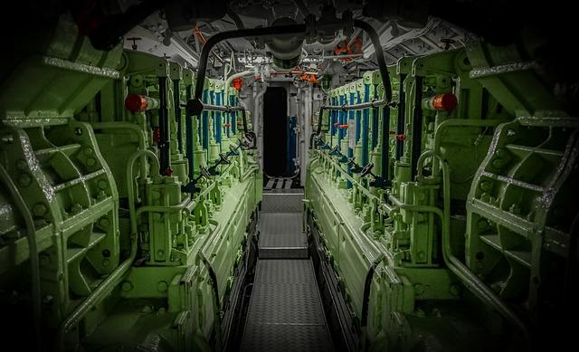 U Boat, Engine Room, Lines, Pipes, Valves, Machines