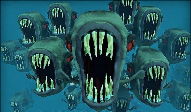 Piranhas, Nightmare, Fish Swarm, Fish, Water, Animals