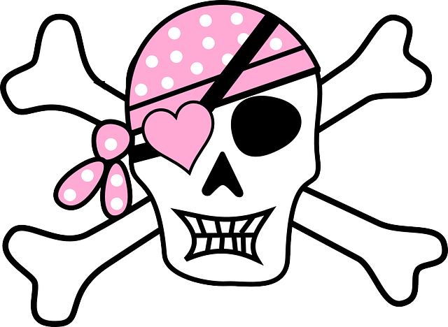 Pirate, Skull, Skull And Crossbones, Eye Patch, Pink