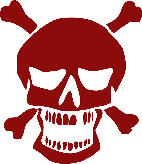 Skull, Crossbones, Red, Pirate, Jolly Roger, Death