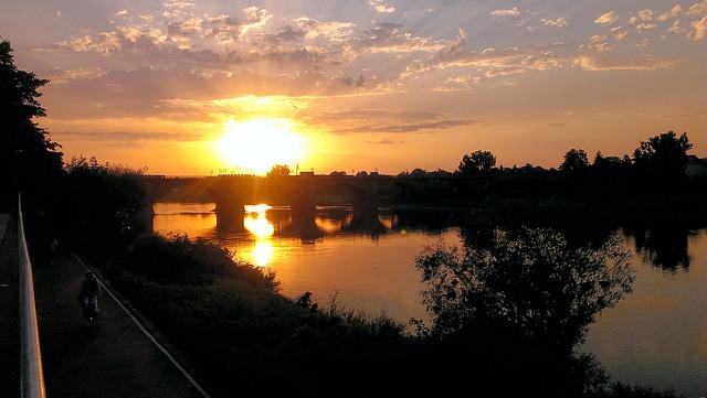 Night, Sunset, Pirna, Elbe, Back Light, Saxony