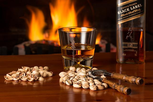 Whisky, Pistachio Nuts, Fireside, Alcohol, Beverage