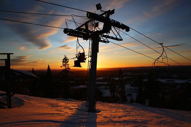 Ski Lift, Backlight, Piste, Downhill Skiing