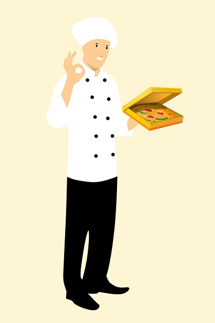 Chef, Baker, Italian, Pizza, Box Showing, Perfect Sign