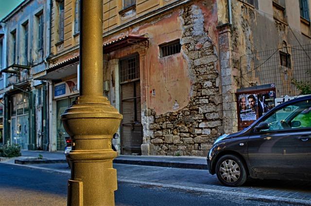 Greece, Lantern, Road, Wall, Break Up, Ruin, Pkw, Auto