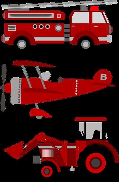 Firetruck, Plane, Tractor, Airplane, Engine, Siren