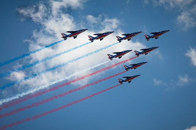 Patrol Of France, Aircraft, Plane, France, Sky, Blue