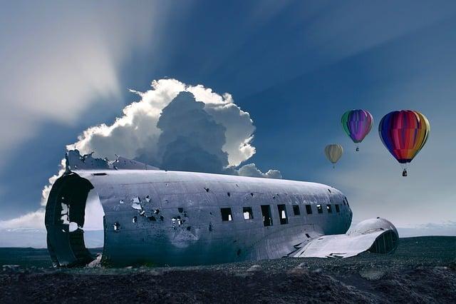Crash Landing, Wreck, Aircraft, Plane Wreck, Balloon